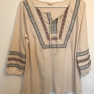 Style & co. beige embroidered Top size 0X